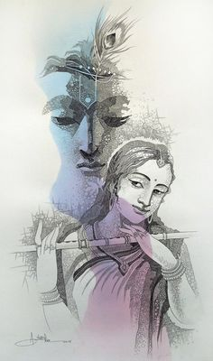 This painting is in the collection CONCEPTUAL ART Krishna Drawing, Krishna Painting, Krishna Tattoo, Radhe Krishna Wallpapers, Lord Krishna Wallpapers, Radha Krishna Pictures, Radha Krishna Love, Shree Krishna, Indian Art Paintings