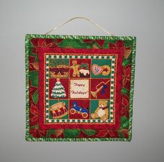 Christmas door hanging - Happy Holidays wall hanger - patchwork quilt - red green gold - small hanging - coworker hostess  grab bag gift by…