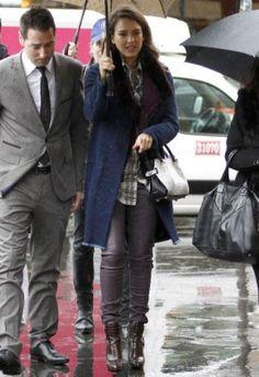 Jessica Alba wearing Nina Ricci Python Marche Bag.