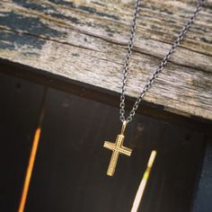 "Etsy のk18 gold cross Necklace ""Grace cross""k18 gold charm and silver925 necklace(ショップ名:CHARISJewelry)"