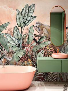 Jungle Bathroom, Bathroom Mural, Exotic Bathroom Wallpaper, Wallpaper Decor, Peach Bathroom, Pink Bathroom Decor, Tropical Bathroom, Bathroom Ideas, Leopard Wallpaper