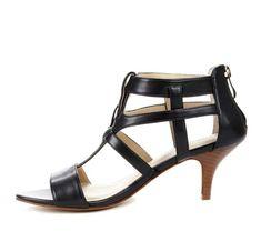 black strappy kitten heels. like