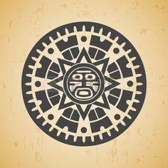 Resumen estilizada s mbolo del sol maya en el fondo de color beige Foto de archivo