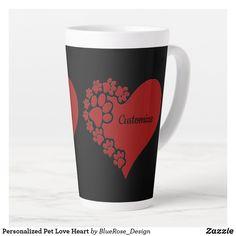 Personalized Pet Love Heart Latte Mug Coffee Drinks, Coffee Cups, Latte Mugs, Beer Mugs, Creature Comforts, Christmas Card Holders, Pet Shop, Love Heart, Travel Mug
