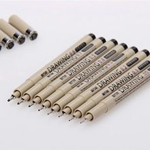 $7.60 8 Pcs /Lot  KNOW Brush Micron Fine Line Drawing Pen Sketch Pens  Hook Line Pen  Free Shipping(China (Mainland))