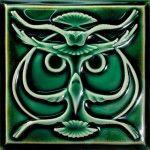 Lewellen's nature-inspired deco tiles include the stylized Nouveau 'Owl.'