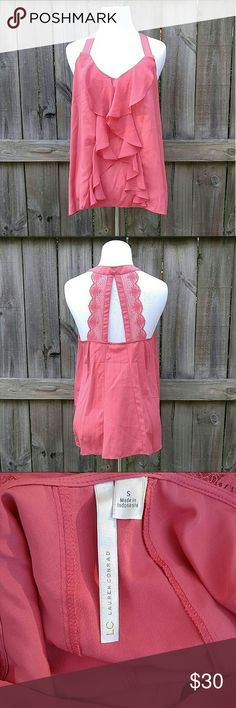 Lauren Conrad Pink Lace Back Tank This like-new, petal pink tank is so pretty! It has a lacey racer back and ruffles on the front! Thanks for looking! LC Lauren Conrad Tops Tank Tops