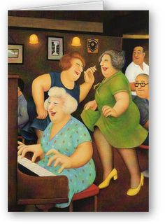 """""""Song and Dance"""" ~ Beryl Cook received an OBE from the Queen before she died. All her paintings are about human activity and every day activities. This could be somehow turned into a fun lesson on identity. I find her paintings ask nothing but questions! Frida Diego, Beryl Cook, English Artists, Gal Pal, Fat Women, Naive Art, Cute Art, Have Fun, At Least"""