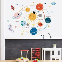 solar system wall Decal - boys kids room star moon wall stickers - astronaut study room Home decor - peel and stick children murals