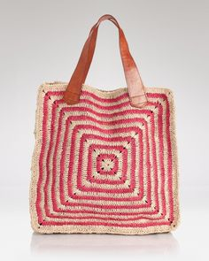 crochet and leather tote.