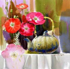 Shin Jong Sik is an artist and is the first time user of Mission watercolor in Korea. He had used 3 different brands of imported watercolor paints until when he wholly turned to Mission after monitoring Mission watercolor. Gold Watercolor, Watercolour Painting, Watercolor Flowers, Watercolours, Art Floral, Mural Wall Art, Still Life Art, Art Themes, Beautiful Paintings