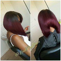 Dark-Burgundy-Hair-Color Best Bob Hairstyles for Black Women Pictures in 2019 Black Bob Hairstyles, Sleek Hairstyles, Hairstyles Pictures, Bob Haircuts, Shaved Hairstyles, Prom Hairstyles, Dark Burgundy Hair Color, Color Black, African American Bobs Hairstyles