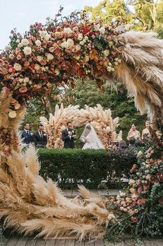 Wedding Trend Alert: 20 Incredible Pampas Grass Wedding Ideas mixed roses and pampas grass circle wedding backdrop. Wedding Henna, Boho Wedding, Wedding Table, Wedding Bride, Luxury Wedding, Bride Groom, Rustic Wedding, Wedding Reception, Arco Floral