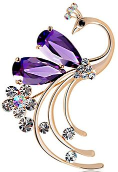 Latigerf Women's Peacock Bird Purple Swarovski Elements Crystal Brooches and Pin Gold Plated for Party Latigerf http://www.amazon.com/dp/B00VMRBQYO/ref=cm_sw_r_pi_dp_R6ULwb1CNWW1K