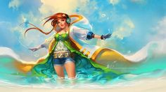 sakimichan anime manga character design photoshop painting digital art beach girl