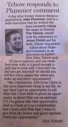 See the last two paragraphs in this article. Tim Tebow, a man of God/Jesus Christ ~ he's not ashamed of Jesus Christ/The Gospel. Tebow receives honor, for honoring our LORD and Savior Jesus Christ! Tebow knows his help comes from the LORD. College Girls, Laura Lee, Cool Words, Wise Words, Just Keep Walking, Gods Love, My Love, Soli Deo Gloria, Religion