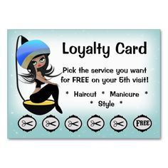 Beauty Salon Loyalty hairstylist punch cards Business Card