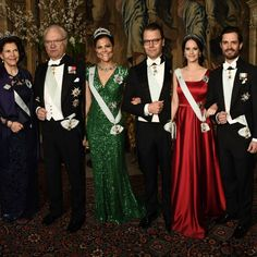 The swedish royal family at the first official dinner of the year today at the Royal Palace