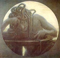 """Max Pirner: """"Medusa""""; Pastell auf Papier, Durchschnitt 59 cm. 1891"""