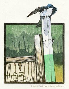 Usurper (tree swallow) Reduction linocut by Sherrie York.