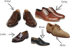 table demonstrating difference between shoe stylesoxford