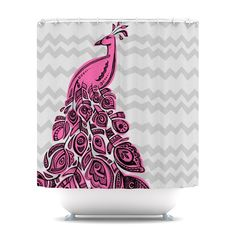 Kess Inhouse Brienne Jepkema Peacock Chevron Striped Shower Curtain - About KESS InHouseThe team at KESS is all about bringing art to the he. Peacock Shower Curtain, Yellow Shower Curtains, Modern Shower Curtains, Peacock Bathroom, Contemporary Shower, Purple Peacock, Chevron Patterns, Shower Liner, Curtain Bangs