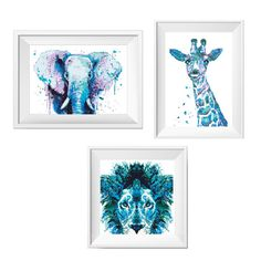Watercolor Animals Cross Stitch Pattern Giraffe by NikkiPattern