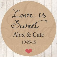 Thank You Stickers Love Is Sweet Rustic by sosweetpartyshop