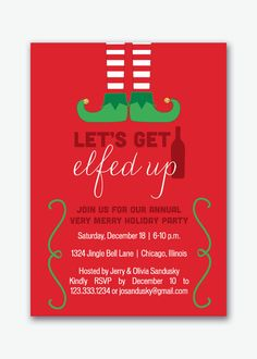 let's get elfed up holiday party invitation by viavaciousdesigns, $20.00
