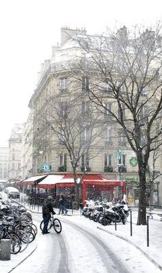 Rue de la verrerie sous la neige, Paris IV.