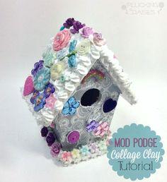 Mod Podge Collage Clay Birdhouse Tutorial   Pluckingdaisies.com