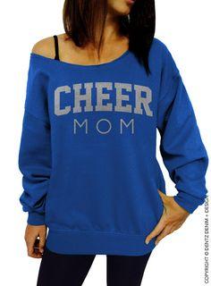 Chère maman Sweatshirt - bleu avec argent Slouchy Sweatshirt surdimensionné