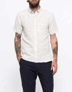 Linen Stripe S/S Button Down