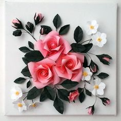 Duplex paper flower sticks and rose crepe paper flowers buy 3d origami canvas wall art origami rose mightylinksfo