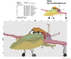 Ishani Disney Planes free cross stitch pattern, 100x52, 11 dmc threads