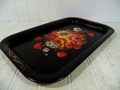 Black Metal Tray Vintage Painted Floral Retro Colorful Flowers