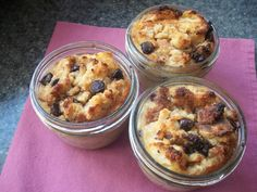 Bread pudding in a jar. I'm not a huge fan of chocolate chips so I plan to use raisins instead.