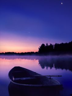 Finland (via touchthestarss) *peaceful, boat on a lake at dusk, photograph
