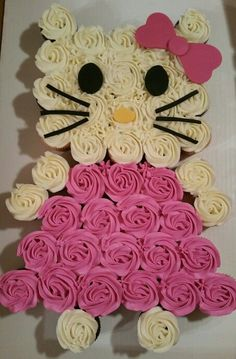Hello Kitty Pull-Apart Cupcake Cake - colour whipped ccnut cream with beet for pink