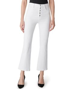 J Brand Lillie High Rise Crop Flare - Blanc on Garmentory World Of Fashion, Love Fashion, Teen Fashion, Lean Legs, Denim Flares, Cropped Skinny Jeans, White Denim, Fashion Branding, J Brand