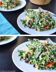 Collard Power Salad with Lemon-Tahini Dressing | Delicious Knowledge