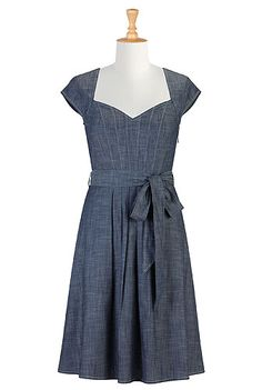eShakti Sash-waist denim chambray dress