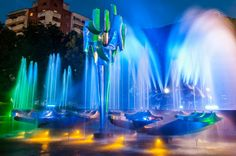 by Andrei Ăla / Fountain Design, My Town, Romania, Northern Lights, Sculptures, Water, Travel, Gripe Water, Viajes