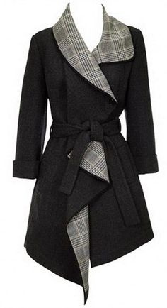 Plaid Spliced Turn-Down Collar Belt Self-Tie Black Wool Coat
