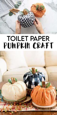 Diy Pumpkin, Pumpkin Crafts, Paper Pumpkin, Easy Christmas Crafts, Thanksgiving Crafts, Fall Crafts, Diy Home Supplies, Craft Supplies, Halloween Crafts For Toddlers