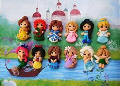 Set of Baby princess new look clay - pendant- scrapbooking- polymer clay- princesses clay- bow embellishment