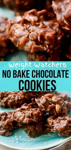 Weight Watchers friendly no bake chocolate cookies. No bake cookies are great for Summer if you don't like heating up your house with the oven. Great for campfires or BBQs. Dessert Weight Watchers, Weight Watcher Cookies, Plats Weight Watchers, Weight Watchers Meal Plans, Weight Watchers Cupcakes, Weight Watchers Brownies, Ww Desserts, Healthy Desserts, Deserts