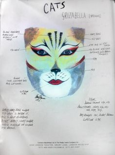 Babygriz makeup chart. This makeup forms the base of the full Grizabella look.