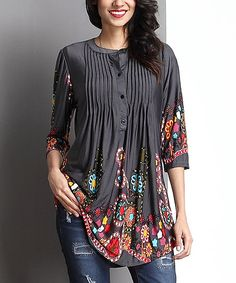 Reborn Collection Charcoal Garden Notch Neck Pin Tuck Tunic | zulily