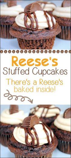 Reese's Cupcakes Ingredients: 1 Devil's Food Cake Mix, 1 box (5.9 oz) chocolate pudding, 1 C sour cream, 1 C oil, 4 eggs, ½ C water, 2 teaspoons vanilla, Reese's Peanut Butter cups, 1 cup butter, 1 cup creamy peanut butter, 4 cups powdered sugar, 5 teaspoons milk